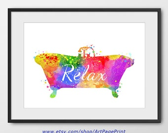 Bathtub Print No1, Bathtub Watercolor Print, Bathroom Decor, Bathtub Art, Bathroom Wall Art (No A0141)