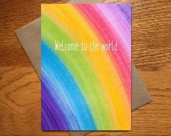 Watercolor New Baby Card / Every Day Spirit / Rainbow Card / Rainbow Baby Card / Congratulations New Baby Card / Welcome Baby Card / 5x7