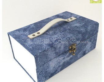 Handmade cartonnage Jewelry Box with drawer, fabric jewelry box, womens gift box, keepsakes box
