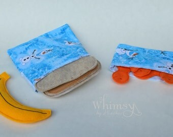 Snowman,  Snowman sandwich bags,, Lunch set, reusable sandwich bag, reusable snack bag, ecofriendly lunch set