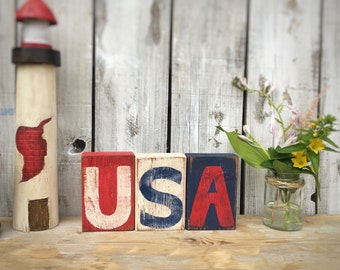 USA Reclaimed Wood Block Decor, Patriotic Decor, Forth of July Decor, Red White and Blue, Table Decoration, United States Sign
