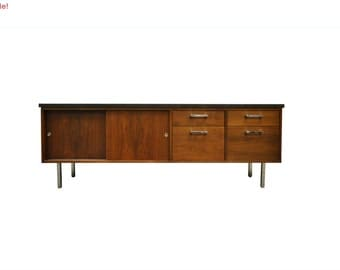 10% Off Sale! Vintage Mid Century Modern Walnut & Chrome Credenza Cabinet Florence Knoll Style