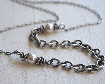 Oxidized Sterling Silver Pearl Necklace, Sterling Silver White Swarovski Pearl Necklace