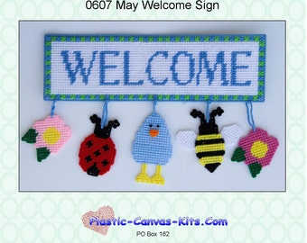 May Welcome Sign-flowers, bee, ladybug, bird-Plastic Canvas Pattern-PDF Downloand