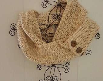 Button Up Crochet Infinity Scarf
