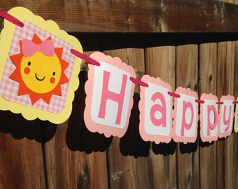Girly Sunshine Happy Birthday Banner | Girly Sunshine Banner | Sunshine Happy Birthday Banner | Sunshine Party Decor | Girly Sun