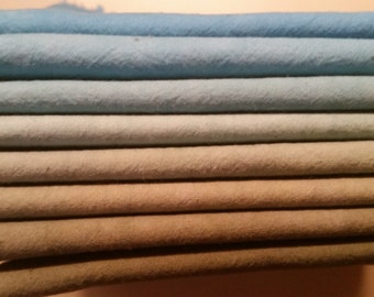 """Hand dyed cotton fat quarters for quilting, gradation of blue to olive green , """"Under the Sea"""""""