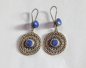 Traditional lapis earrings from Afghanistan