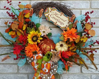 Harvest greetings fall pumpkin wreath Thanksgiving decor wreath home decor office decor