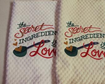 Embroidered Kitchen towel, kitchen towel, Waffle Towel, Love, Home, Wedding gift, kitchen, gift, handmade, embroidered, Valentine