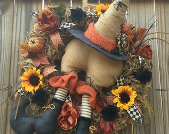 Witch booty wreath, primitive Halloween decor, Halloween wreath, witch decor