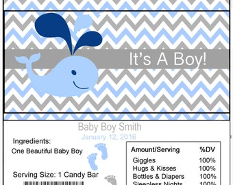 Whale Baby Shower Candy Bar Wrapper
