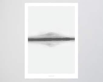 Landscape No. 4 / Reflection, Mountain, Fine Art-Print, Wall-Art, Minimal Poster Art, Typography Art, Premium Poster, Kunstdruck Poster