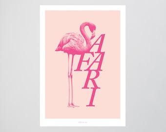 Safari / Flamingo, Pink, Typography Art, Kunstdruck Poster, Wall-Art