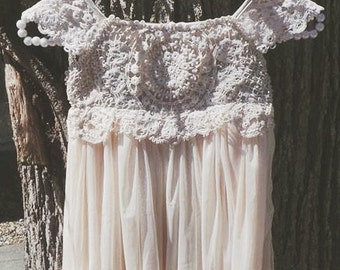 Beige tan flower girl dress, crochet dress, lace dress girl dress, baby dress, cream dress, baptism dress, toddler dress, birthday dress