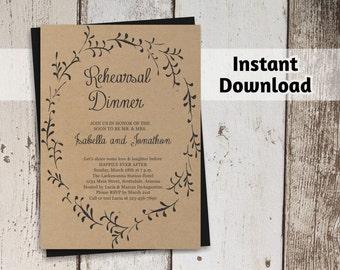 Rehearsal Dinner Invitation Printable Template - Rustic Wreath / Foliage on Kraft Paper | Easy Editable PDF Instant Download Digital File