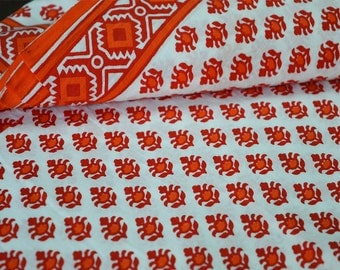 Screen Printed Cotton Fabric   Soft Cotton Fabric By Yard   Vegetable Dye  Fabric In Red