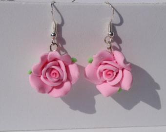 pink rose earrings rose dangle earrings flower earrings pink earrings summer jewellery pink flower earrings gardeners gift mothers day