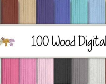 100 Wood digital Papers