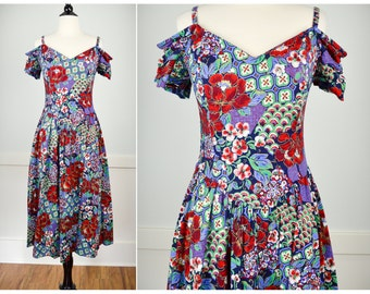 80s Floral Dress, Vintage Clothing, Tea Party Dress, Garden Party Dress, 80s Clothing, 80s Clothes, Off Shoulder, Hipster, Vintage Clothes