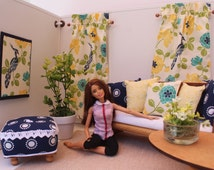Blythe/Barbie Dollhouse- Blue, Green, Yellow, Curtains, Pillows, Ottoman, 1:6 Scale Accessories