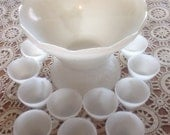 Midcentury Milkglass Grape Pattern with 11 matching cups