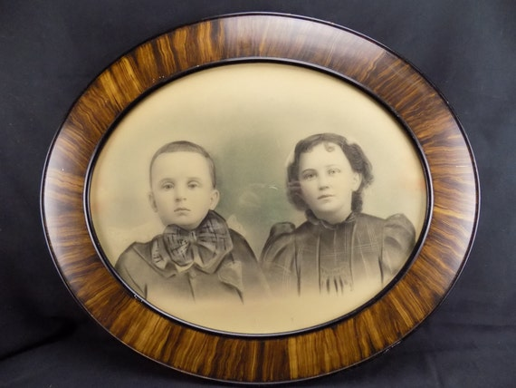 Antique Oval Frame Painted Enlargement Two Children Victorian Clothing