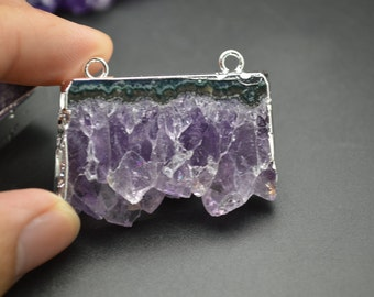 1pc Silver plating Two Loops Natural Drusy Amethyst Square Slice Pendants