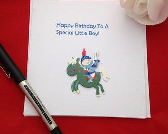 Little Boys Birthday Card, Knight Card For Him, Handmade Birthday Card, Cute Cards For Special Boy, Blue Themed Greetibg Card, Hero Cards