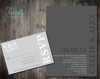 Printable Wedding Invitation | Gray Wedding Invitations | RSVPs | Simple Wedding Invitation | Modern Wedding Invitation