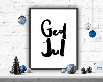 God Jul, Scandinavian Merry Christmas, Swedish and Norwegian Print, Christmas Decor, Christmas Poster, Scandinavian Poster