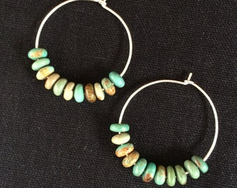 Turquoise on Sterling Silver Hoop Earrings