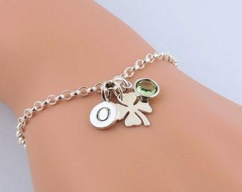Personalized Clover Bracelet, Sterling Silver Clover Bracelet, Four Leaf Clover, Initial Bracelet, Birthstone Bracelet, Good Luck Charm