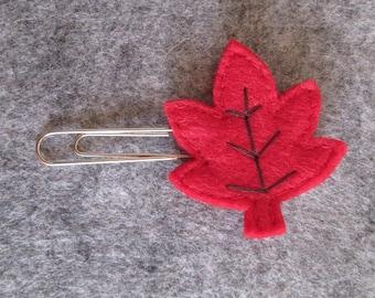 Leaf paper clip; Felt paper clip; Fall Planner accessories; Leaf planner clip; Bookmark; Felt bookmark;  Back to school; Gift under 5.