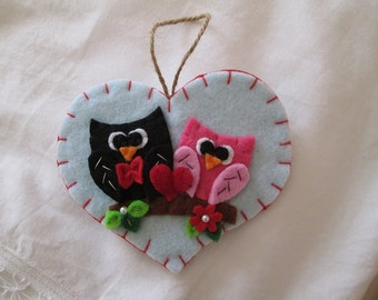 Heart felt owls-Valentine's day gift-Handmade-only available on blue background night sky.