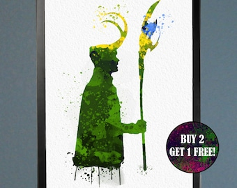 Loki God of Mischief Watercolor Fine Art Print Wall Poster Home Decor Painting Giclee Illustration No 016