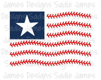 Baseball laces flag SVG, EPS and Silhouette Studio cutting file, Instant Download