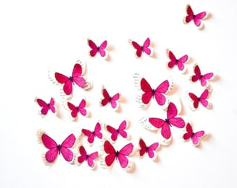 10 fuchsia butterflies, interior decoration, paper anniversary decorations, wedding anniversary, cabinet of curiosities