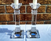 """Vintage Candlesticks, Set of 2, """"Treviso"""" Lead Crystal, Marquis by Waterford, 8 Inches Tall, Square Column Design, Circa 1990s"""