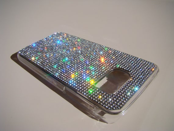 Galaxy S7 Clear Diamond Crystals on Transparent Case. Velvet/Silk Pouch Bag Included, Genuine Rangsee Crystal Cases.