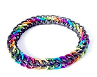 Kids Stretch Bracelet, Black Rainbow Chainmaille Bracelet, Fun Teen Jewelry, Christmas Gift under 20, Half Persian Chain Mail