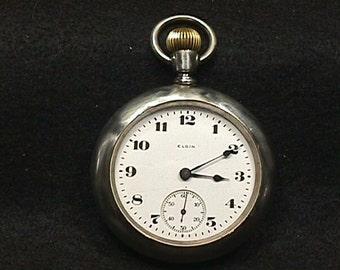 Antique Open Face Elgin 15 Jewel Pocket Watch Running  # 21