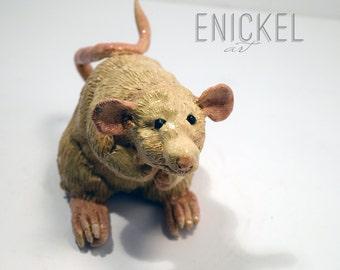 Handmade Curious Rat Sculpture