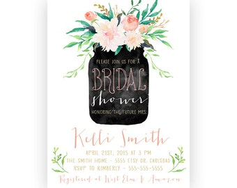 Bridal Shower Invitation, Mason Jar Flower, Printable Invite (419)
