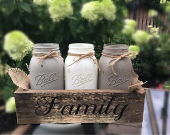 Valentines,Neutral Toned Mason Jar Centerpiece, Rustic Decor, Painted Mason Jar, Wedding, Farmhouse