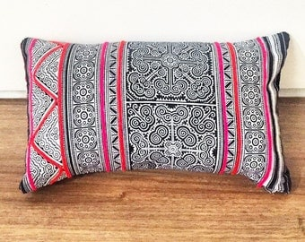Hmong- Thailand,Vietnam,Laos- Small Hand-stitched Throw Pillow- Handmade Decorative Pillow- Hmong Tribe Hand Dyed Fabric-Unique Home Decor