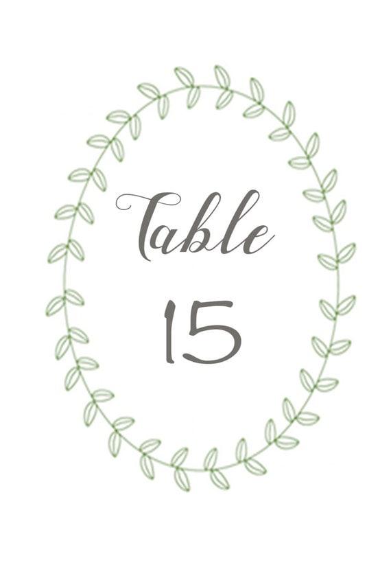 Printable Table Number Wreaths 1-15- Wedding