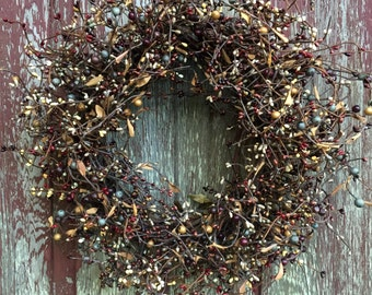 Fall Wreath with Burgundy, Cream Blue and Brown Pip Berries, Pip Berry Wreath, Primitive Wreath, Rustic Wreath, Autumn Wreath, Candle Wreath