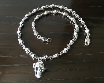 Mens .925 Sterling Silver Skulls chain with skull and snake pendant handmade.