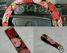 Scarle Rosas Wheel cover -Steering wheel cover with red and pink roses - set of wheel cover and two seat belt cover  .